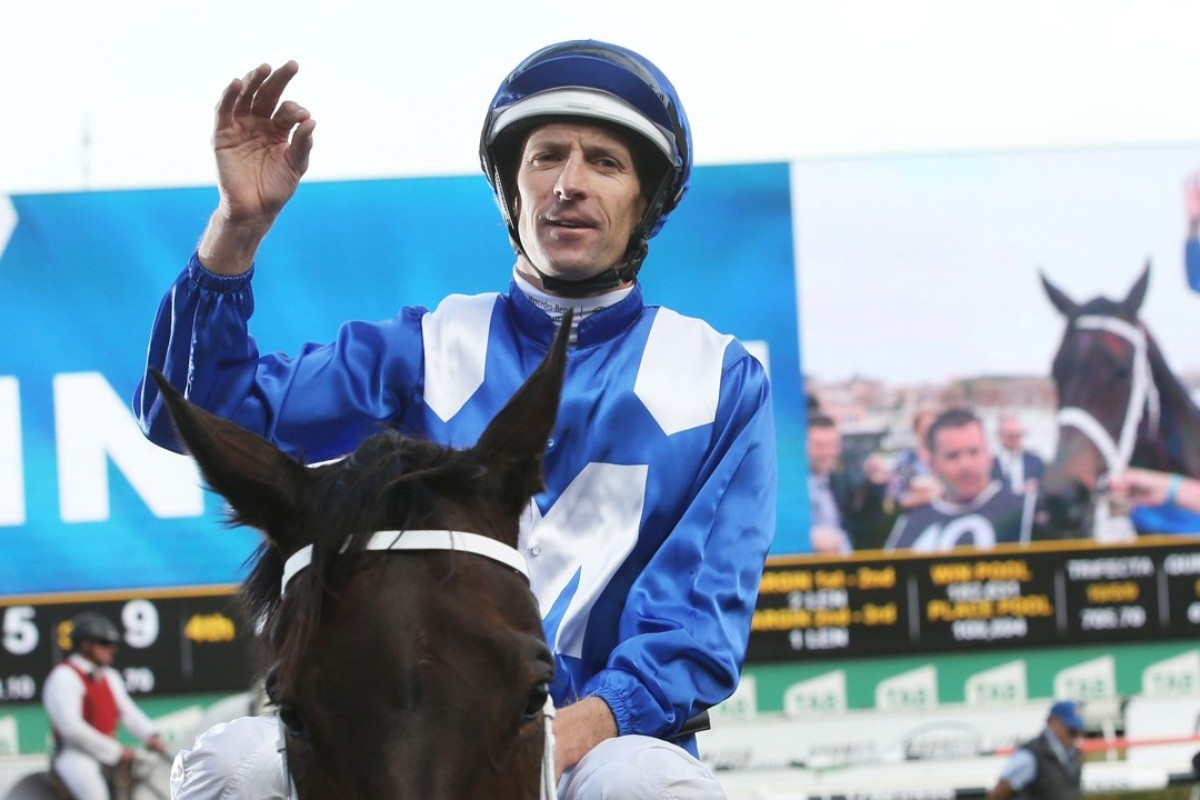 Hugh Bowman celebrates another victory aboard Winx. Photo: AFP