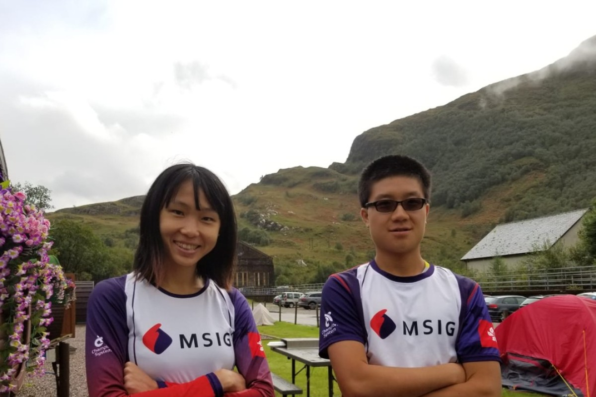 David Ng Wai-hei and Karen Cheung Man-yee finish the Ben Nevis Ultra in Scotland despite muddy conditions. Photo: Action Asia
