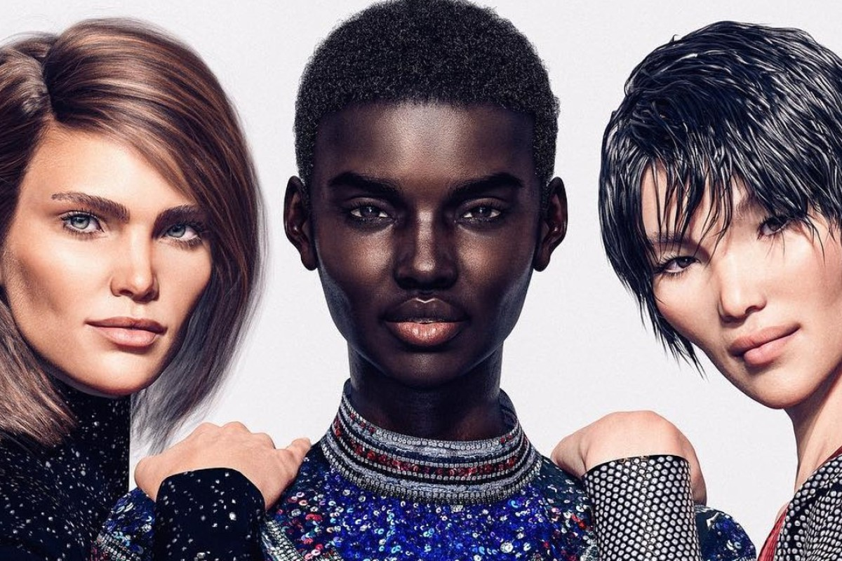 The French fashion brand Balmain has created a line-up of three virtual models, Margot (left), Shudu (centre) – who has almost 140,000 followers on Instagram – and Zhi to show its latest range of designs. Photo: Instagram @balmain
