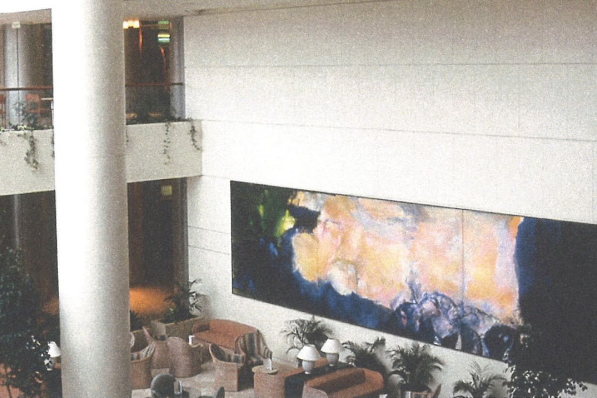 Zao Wou-Ki's triptych Juin-Octobre 1985 (1985) on display at Raffles City, in Singapore, will be offered at a Sotheby's auction this autumn and is estimated to sell for at least HK$350 million. Picture: courtesy of Foundatoin Zao Wou-ki