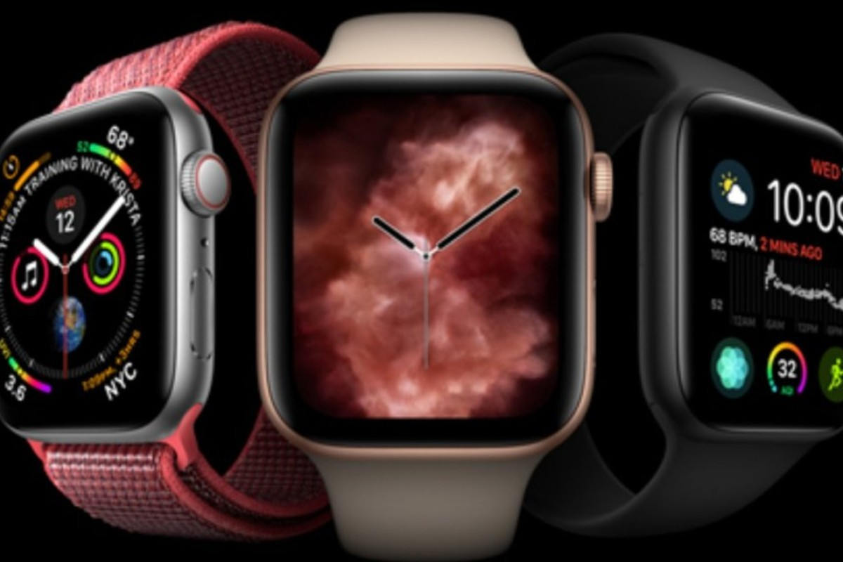 Some of the new Apple Watch Series 4 offerings, including the 'vapour' watch face (centre), which went on sale last Friday. Apple