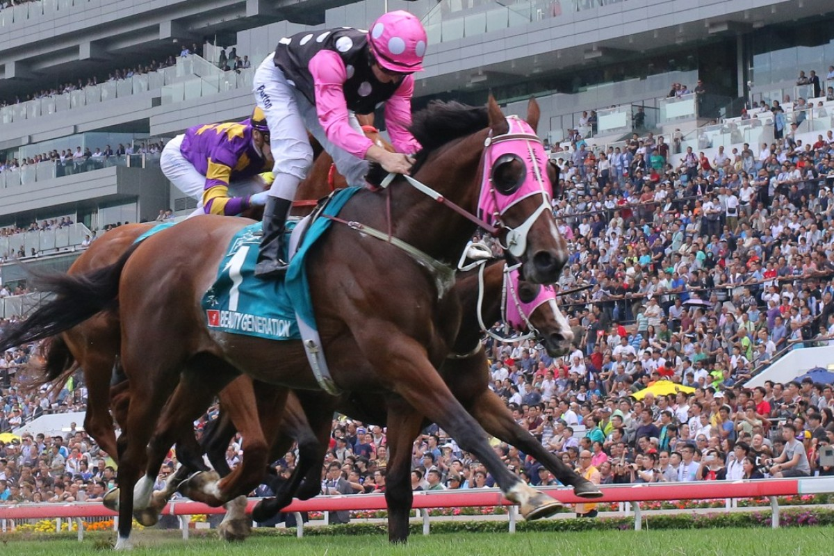 Beauty Generation wins the Champions Mile. Photos: Kenneth Chan