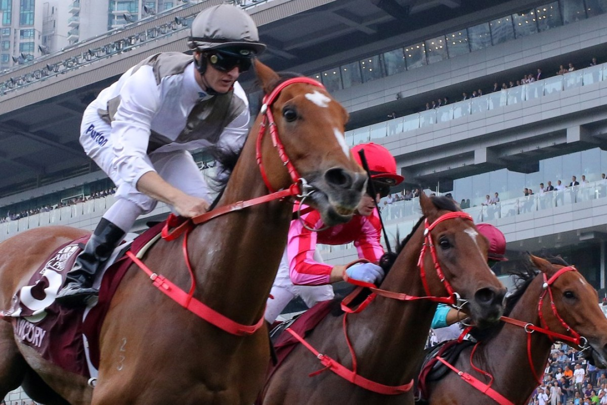 Ivictory races to victory in last season's Chairman's Sprint Prize at Sha Tin. Photos: Kenneth Chan