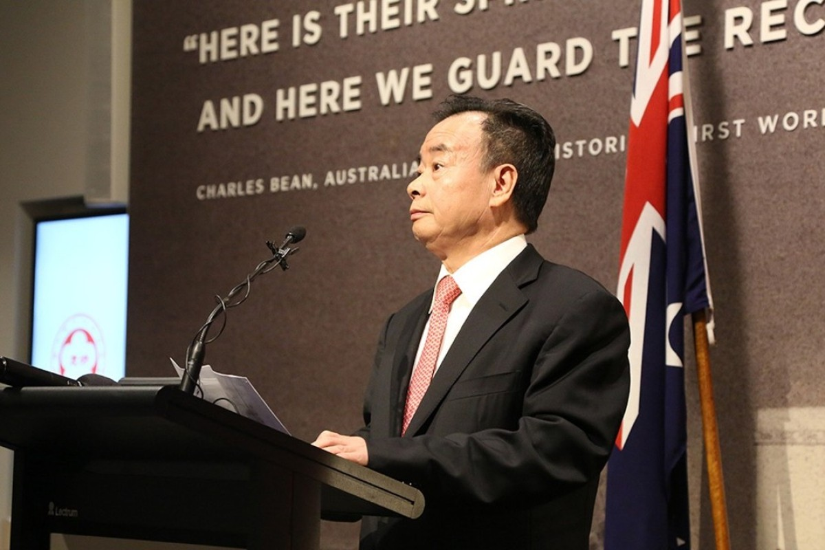 Chau Chak Wing at an event honouring Chinese-Australian troops at the Australian War Memorial. Photo: Kingold