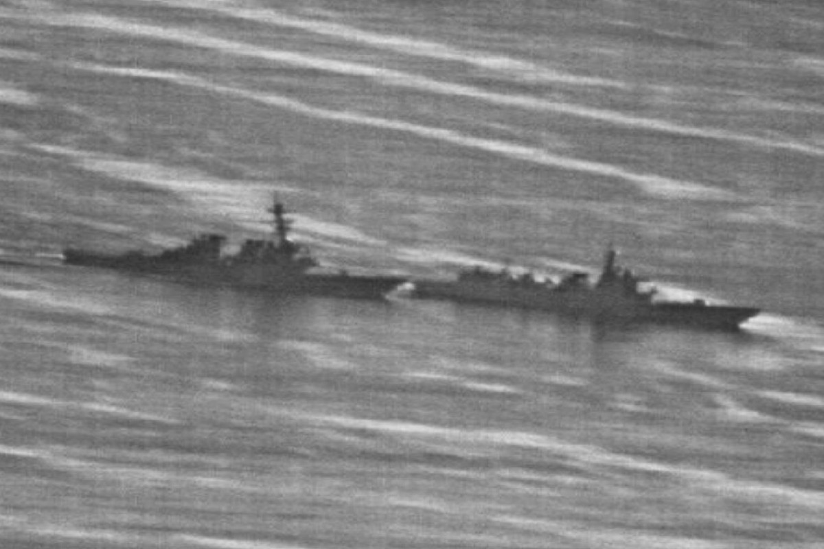 The confrontation between the USS Decatur, left, and PRC Warship 170 in the South China Sea. Photo: Handout
