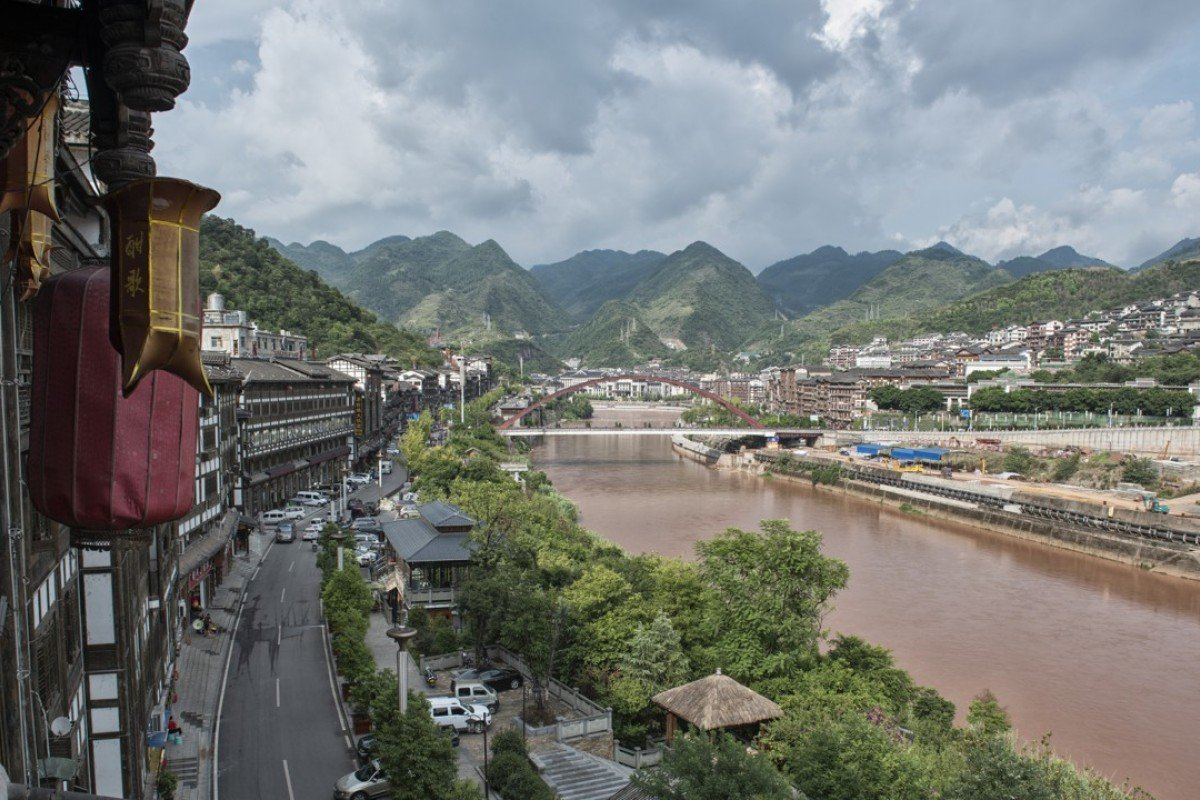 The Chishui River that divides the town of Maotai in China's Guizhou province. Pictures: Zigor Aldama