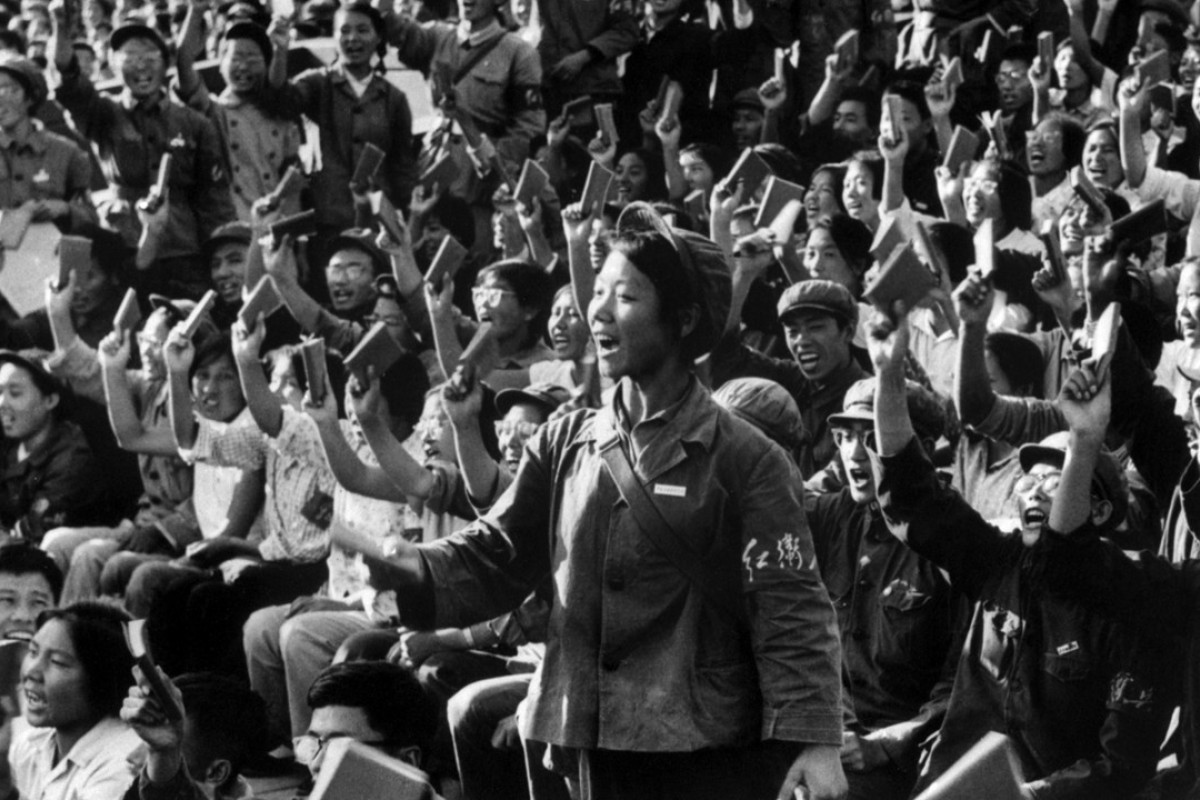 Red Guards and students stage a rally on a Beijing street in September 1966 to spread Mao Zedong thought. Picture: AFP