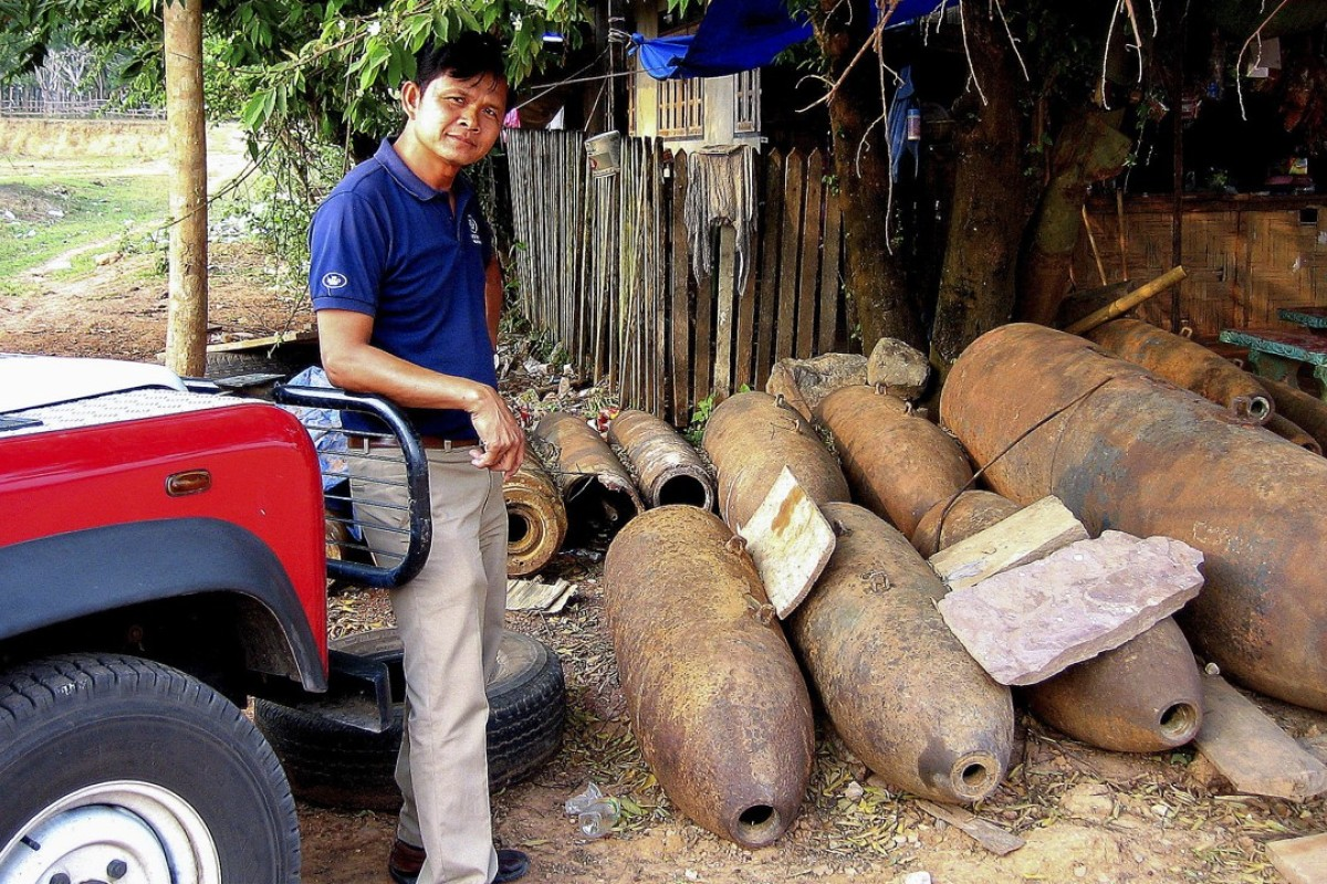 Disarmed bombs in Xépôn, Laos. Picture: Halo Trust