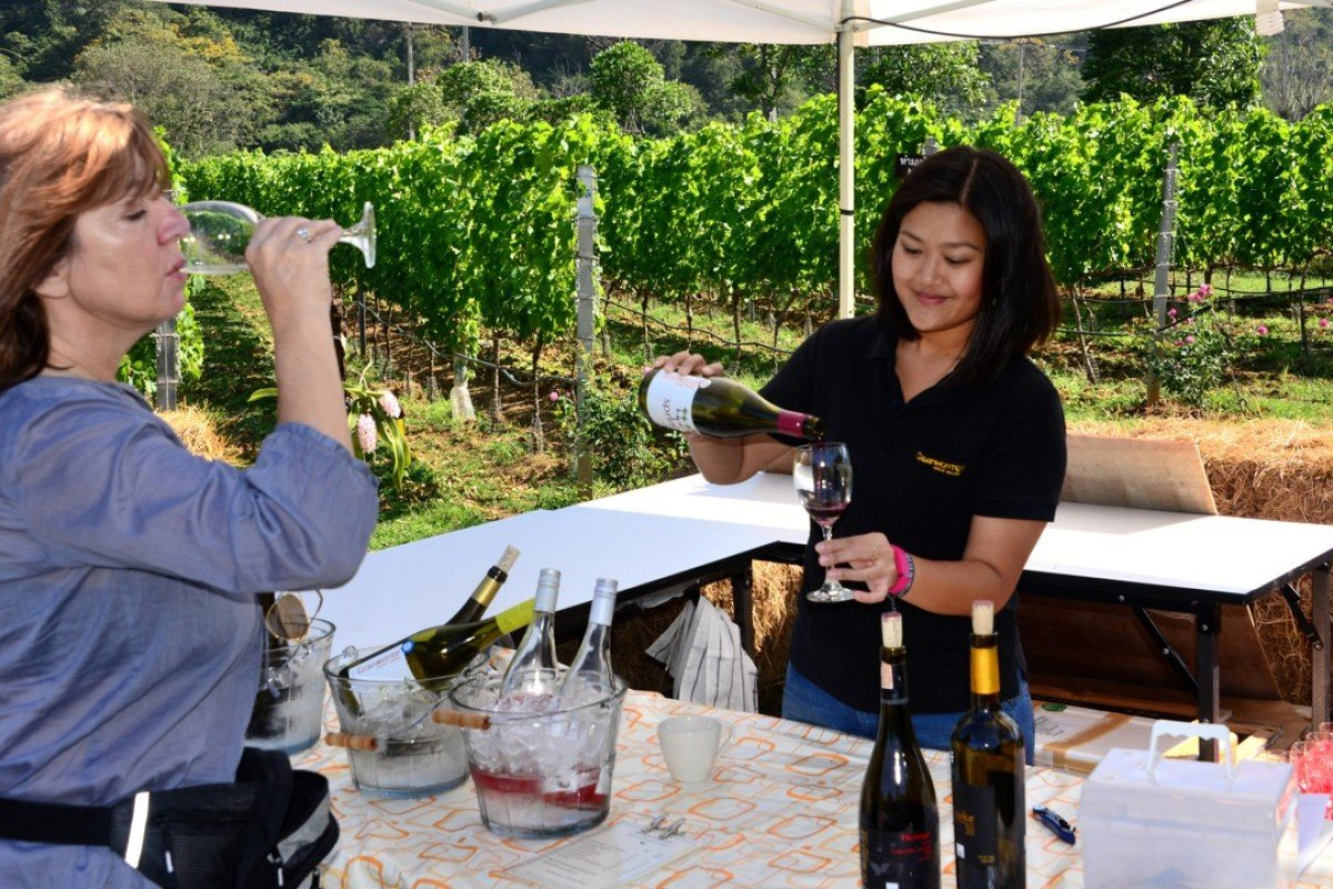 Nikki Lohitnavy (right), the winemaker at GranMonte in the Khao Yai National Park, in central Thailand. Picture: Alamy