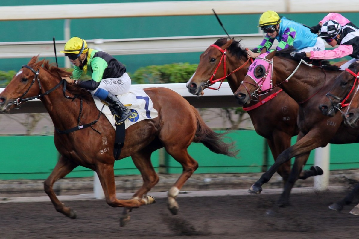 Vincent Ho guides Ugly Warrior to victory at Sha Tin. Photos: Kenneth Chan