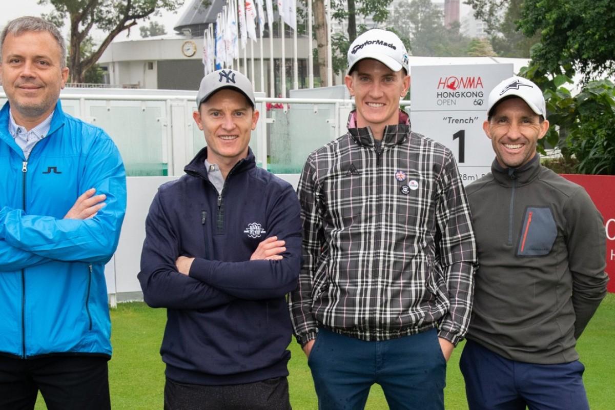 Caspar Fownes (left), Zac Purton, Chad Schofield and Neil Callan. Photo: Jayne Russell