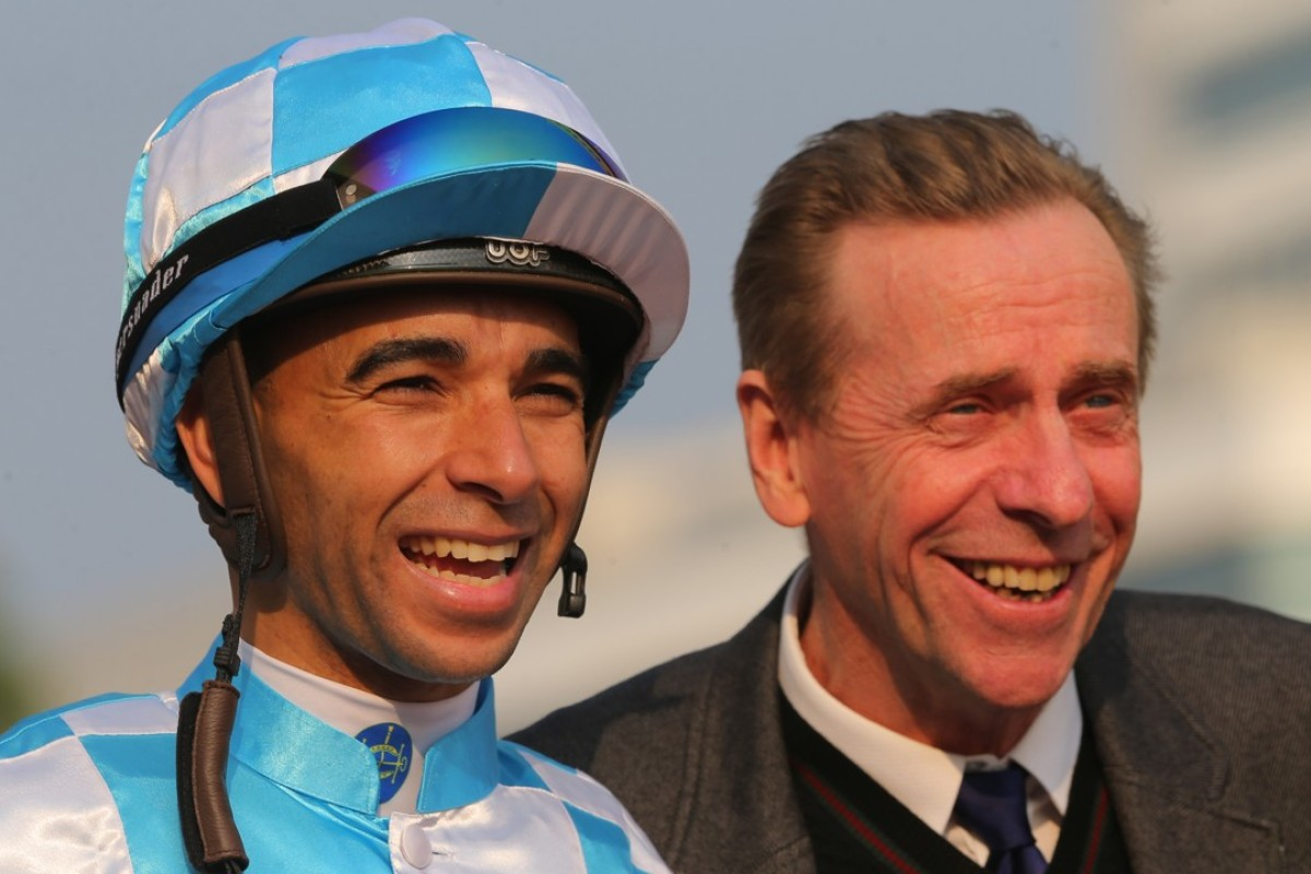 Jockey Joao Moreira and John Size are all smiles after winning with Conte earlier this year. Photos: Kenneth Chan