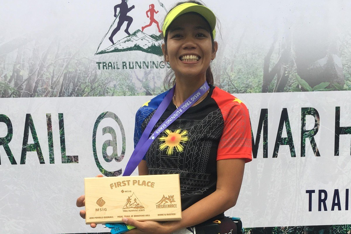 Fredelyn Alberto wins the Breamar Green race 45km trail race despite a knee injury. Photos: Ben Young