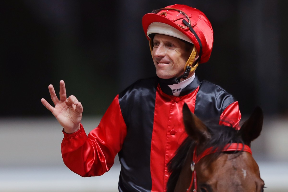 Hugh Bowman celebrates after winning aboard Country Star at Happy Valley in December. Photo: Kenneth Chan