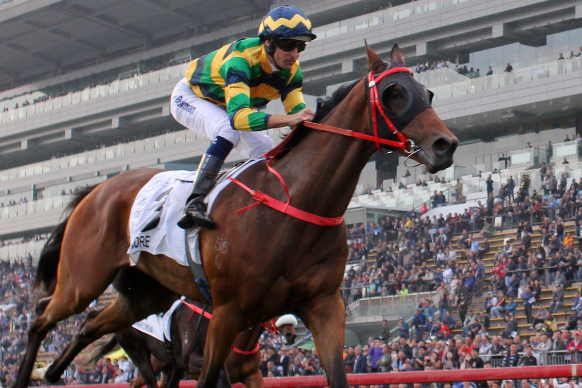 Hugh Bowman races clear to win the Hong Kong Classic Mile (1,600m) on Furore on Sunday. Photos: Kenneth Chan