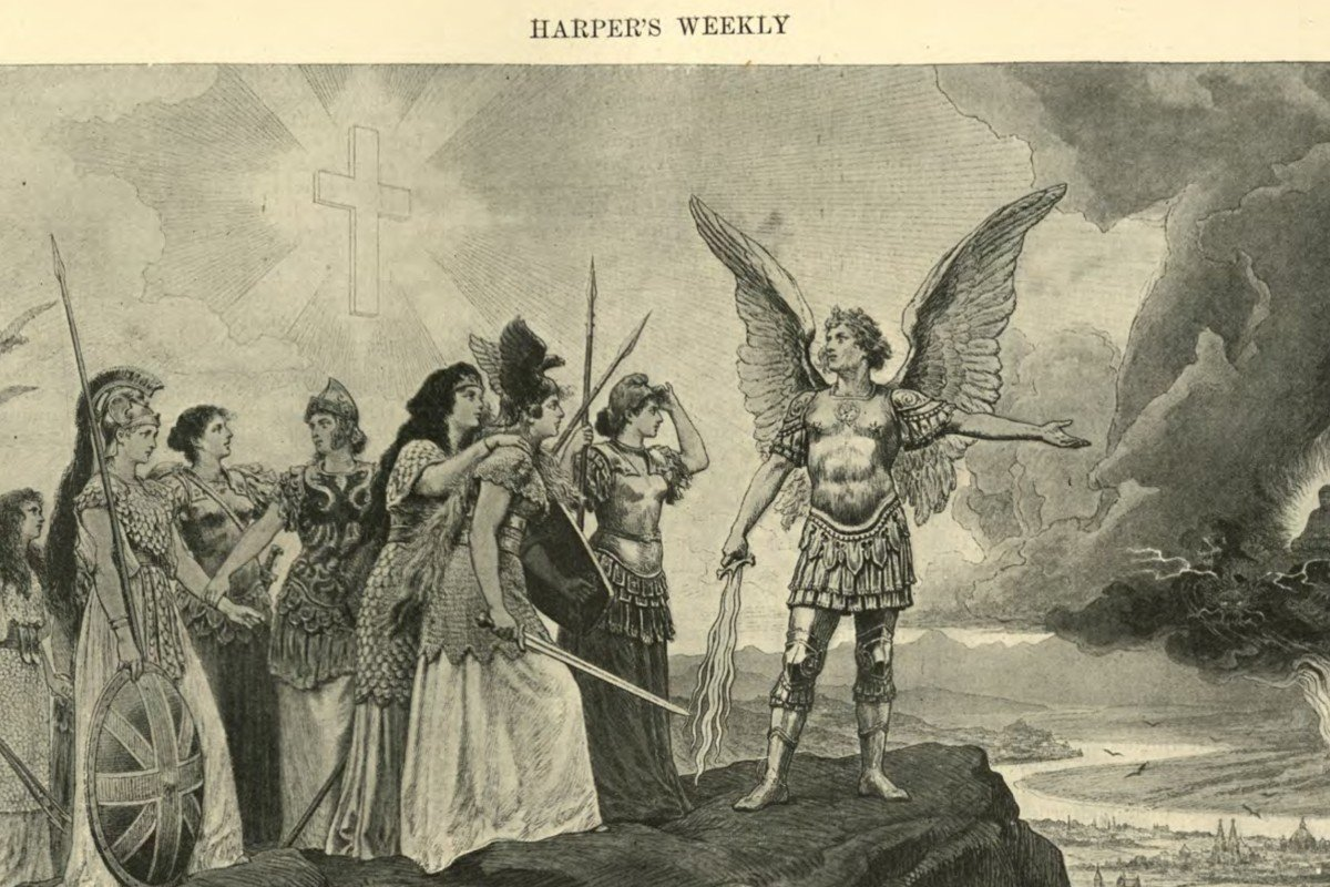 An illustration in Harper's Weekly, titled 'The Yellow Peril' (1895), comes with an exhortation: 'Nations of Europe! Join in the defence of your faith and your homes!'