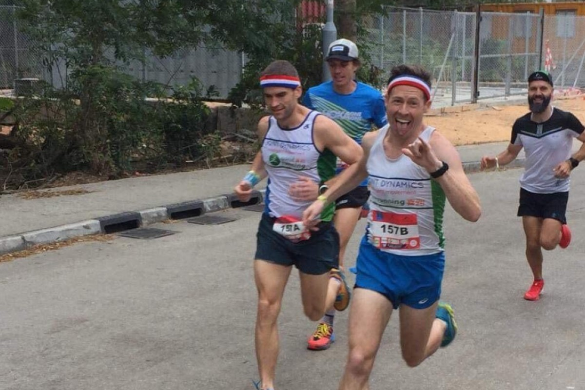 Jeff Campbell (right) and Ryan Whelan lead Jim Walmsley (blue) and Jeremy Ritcey in the first sprint. Photo: Handout