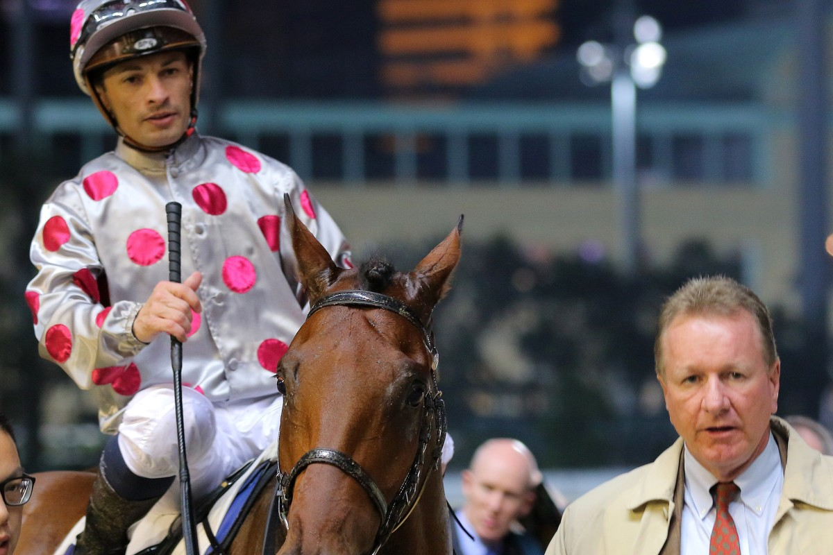 Silvestre de Sousa in the winner's circle at Happy Valley after saluting on Gift Of Lifeline. Photos: Kenneth Chan