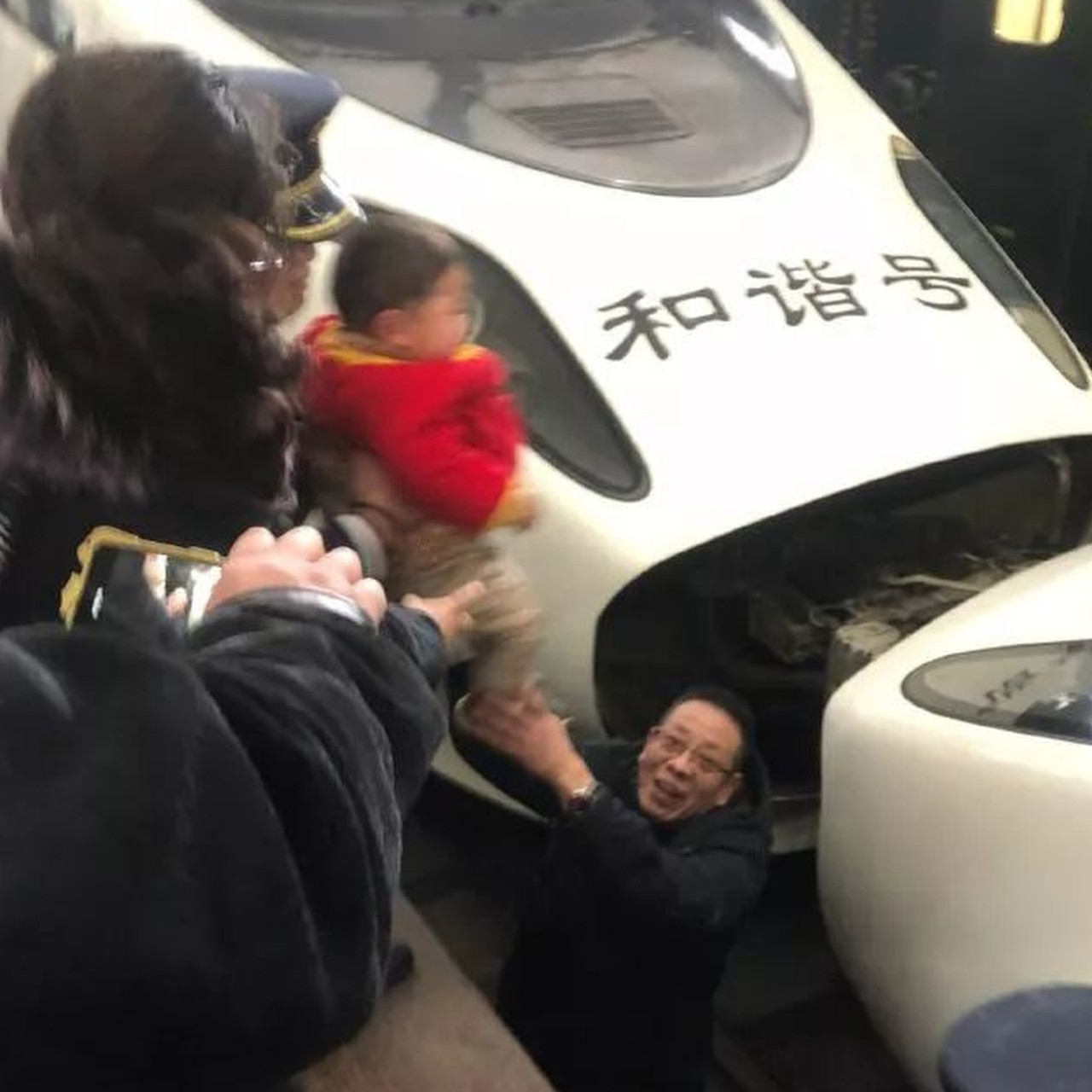 Chinese boy, 3, has lucky escape after falling onto high-speed train